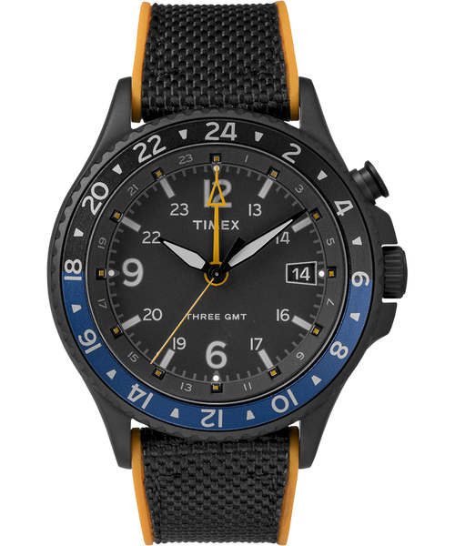 Allied Three GMT 43mm Silicone Watch - Black/Orange/Blue