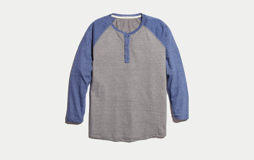 Baseball Henley - Heather Grey/Navy