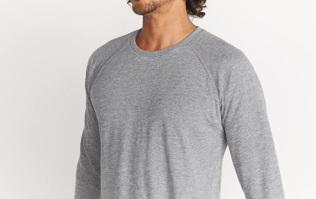 Double Knit Baseball Raglan - Heather Grey