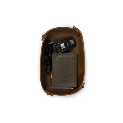 Leather Basin Catchall - Dark Brown