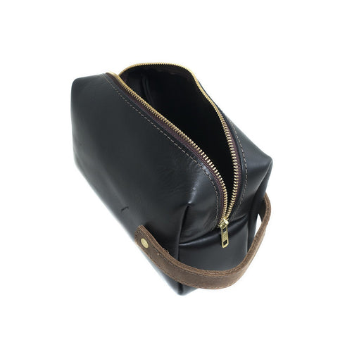 Leather Dopp Kit - Black