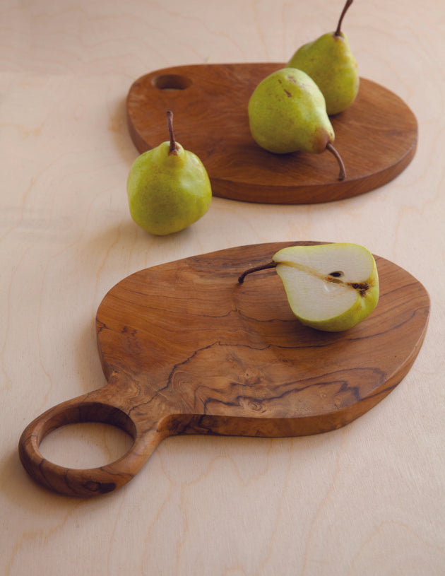 Teak board - oval wood handle