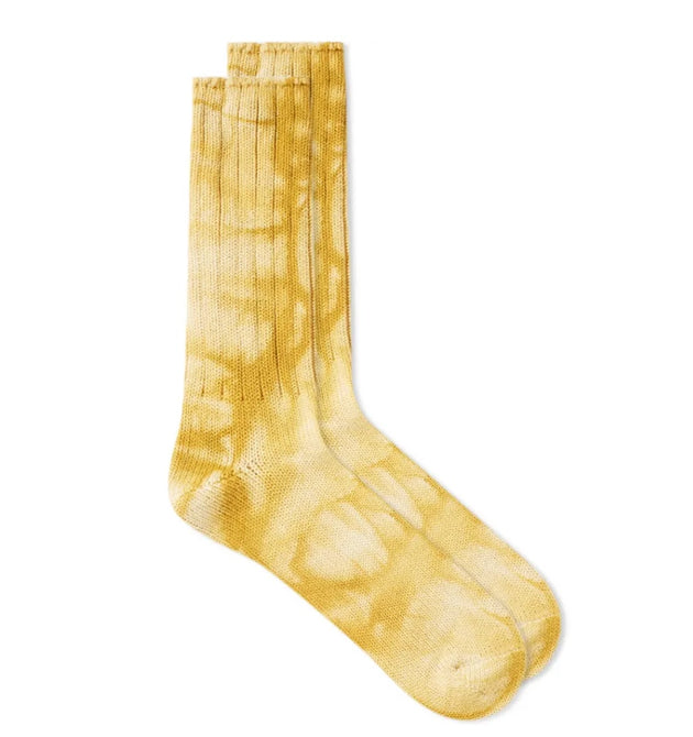 2 Color Uneven Dye Crew Socks - Gold