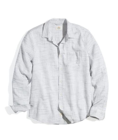 Classic Fit Selvage Shirt - Natural/Navy Stripe