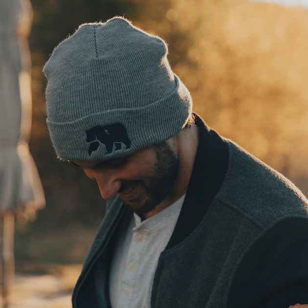 Knit Beanie, Big Bear - Heather Grey/Navy