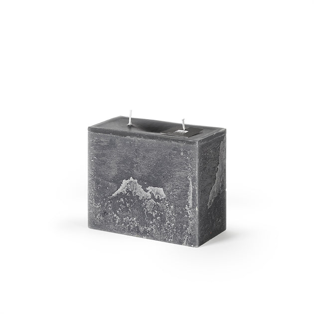 Rectangle 2 Wick Pillar Candle - Anthracite