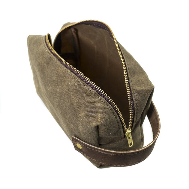 Waxed Canvas Dopp Kit - Field Tan/Brown