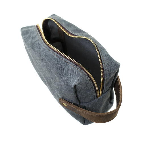 Waxed Canvas Dopp Kit - Grey/Brown