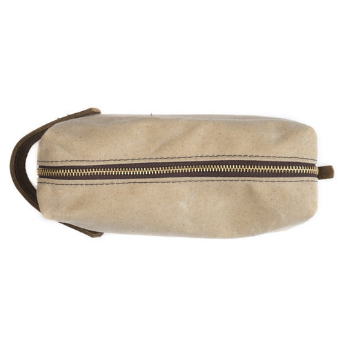 Waxed Canvas Dopp Kit - Sand/Brown