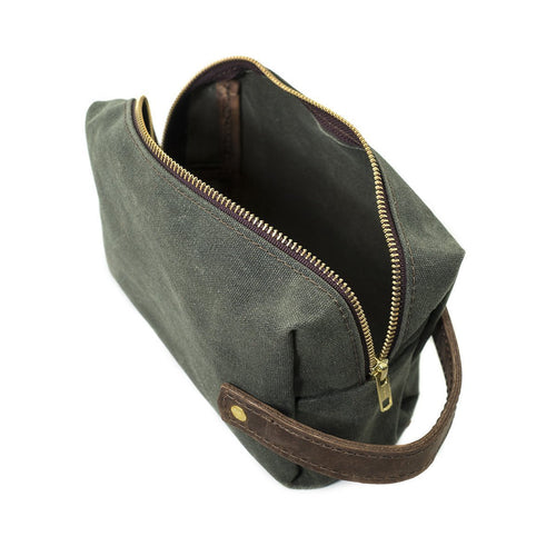 Waxed Canvas Dopp Kit - Olive/Brown