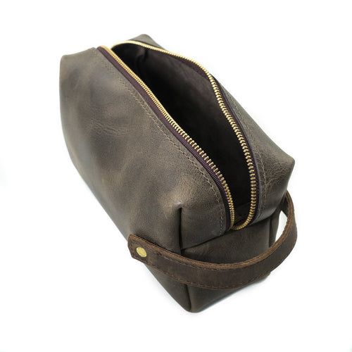Leather Dopp Kit - Charcoal