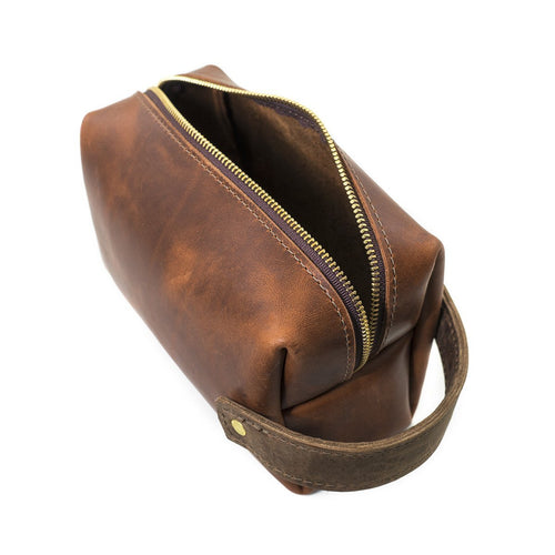 Leather Dopp Kit - Saddle