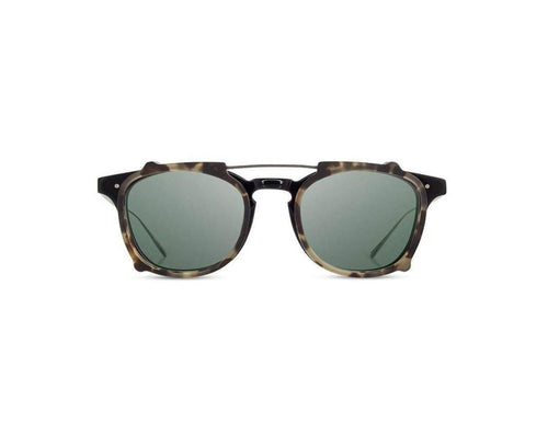 Kennedy City Sunglasses, G15 Polarized - Black/Matte Havana Acetate Sun Clip