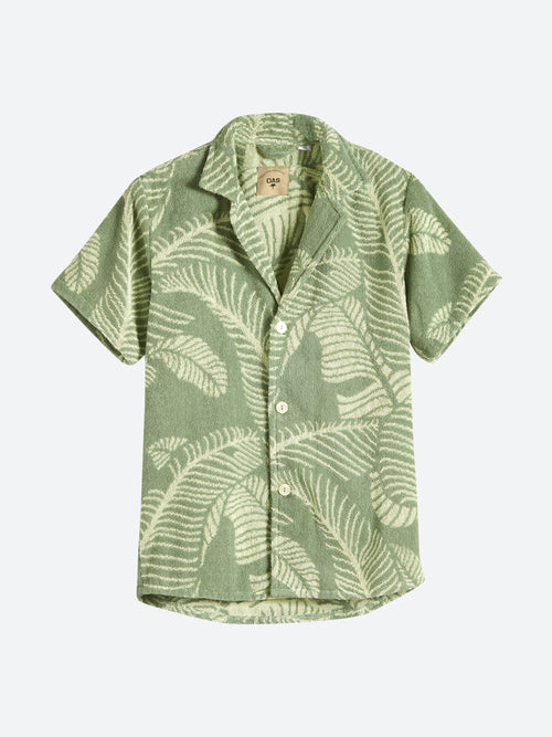 Banana Leaf Terry Button Up