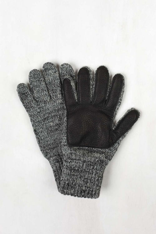 Wool/Nylon Glove - Black Leather