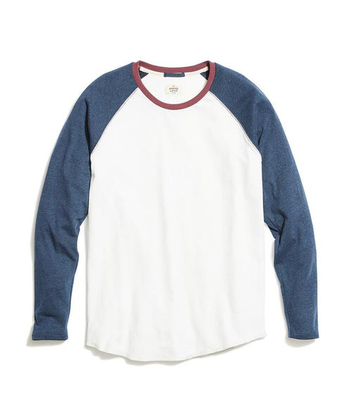 Double Knit Baseball Raglan - Natural/Navy