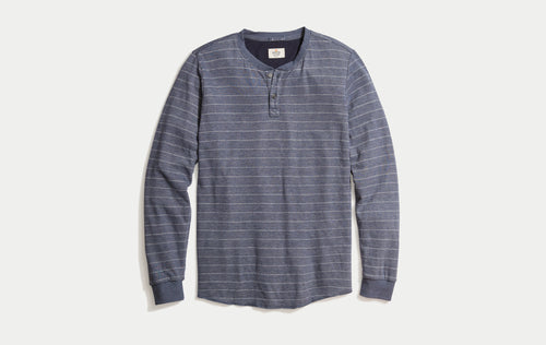 Double Knit Henley - Black Iris/White Stripe