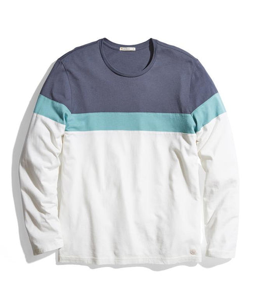 Jacob Long Sleeve Crew Tee - India Ink/Oil Blue/White