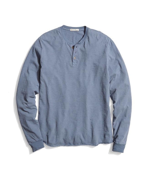 Lightweight Long Sleeve Henley - Blue/White Stripe