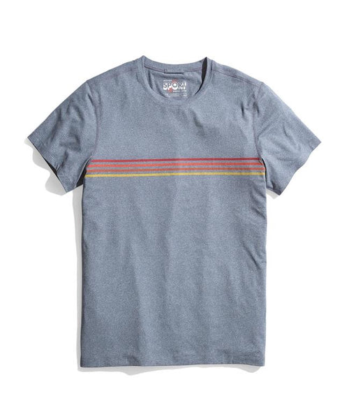 Sun Sport Crew - Navy Heather Stripe