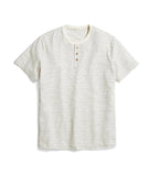 Short Sleeve Henley - Natural/Black Stripe
