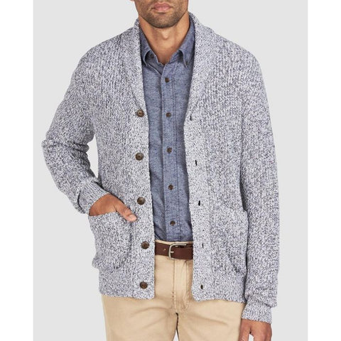 Marled Cotton Cardigan - Light Gray Rag