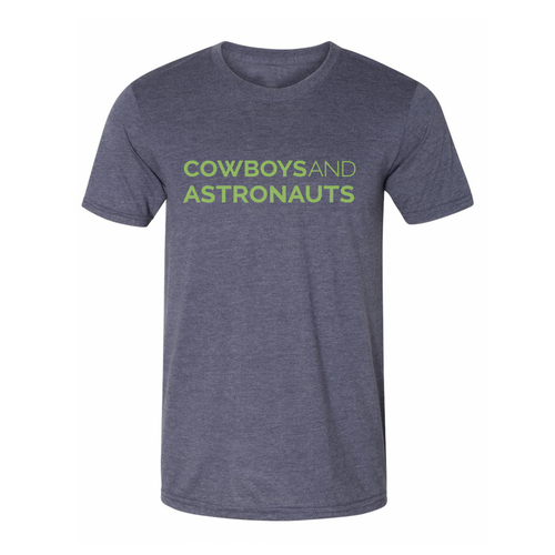 Cowboys and Astronauts Tee - Navy/Lime