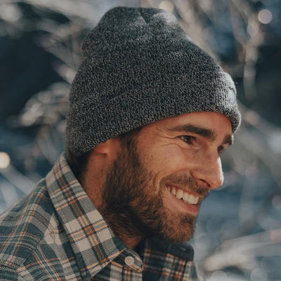 Knit Beanie, Small Bear - Heather Navy/Navy