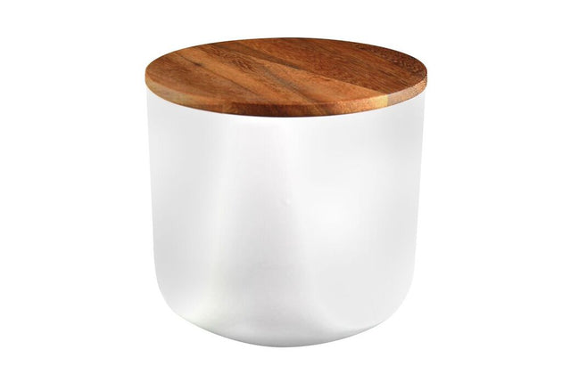 Stoneware Jar with Acacia Lid - White (various sizes)