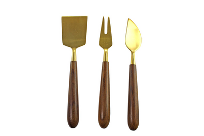 Serving Tools, Set of 3 - Wood/Gold