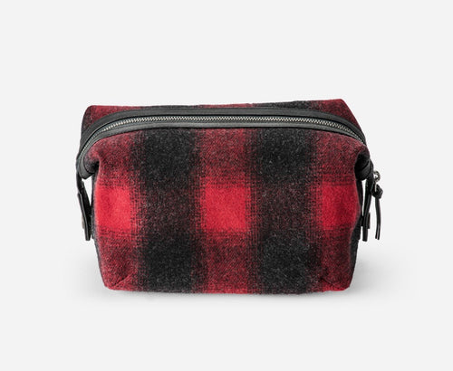 Dopp Kit - Red/Black Ombre Buffalo Check