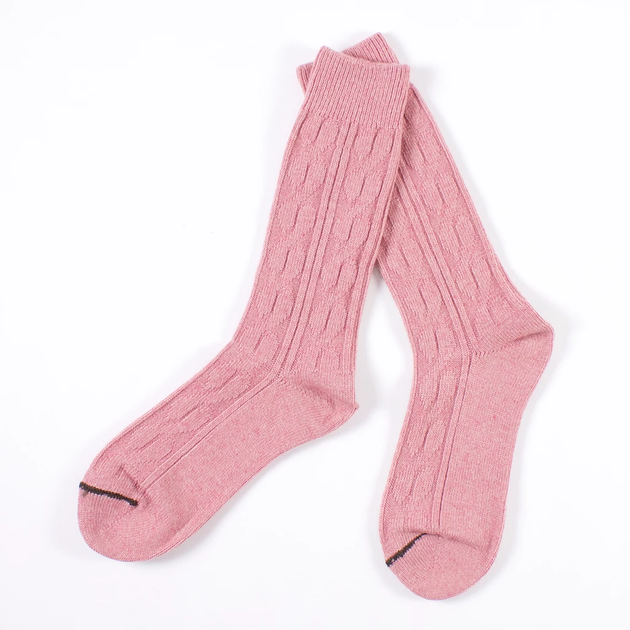 Wool Cable Crew Sock - Rose