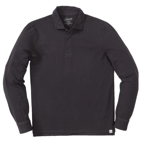 Rutger 3 Ply Lux Long Sleeve Pique Polo - Nine Iron