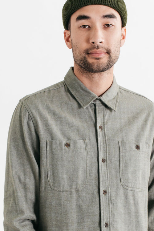 Winslow Long Sleeve Button Up - Olive Herringbone