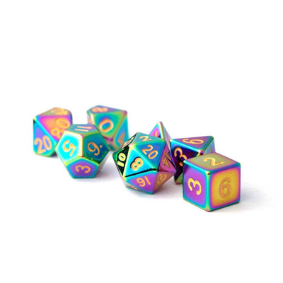 16mm Metal Polyhedral Dice Set - Torched Rainbow