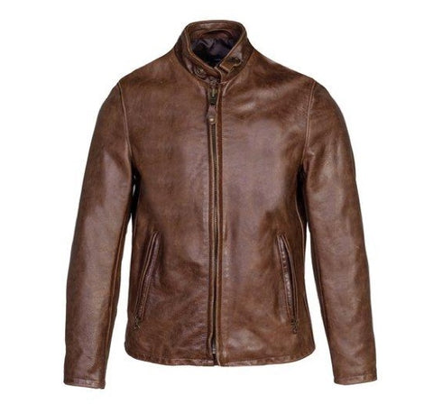 Vintaged Cowhide Cafe Racer Leather Jacket - Brown