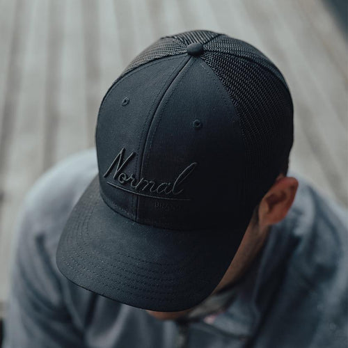Normal Script Trucker Cap - Black