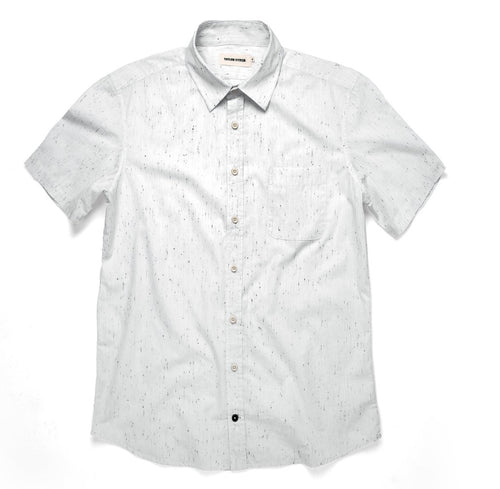 California Short Sleeve Button Up - White Spacedye