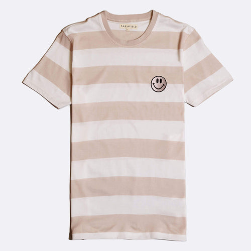 Embroidered Acid Smile Bold Stripe T-Shirt - Dusty Pink