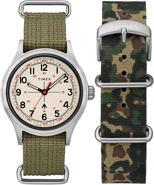 Timex x Todd Snyder Military Inspired 40mm Watch with Extra Strap - Silver-Tone/Green/White