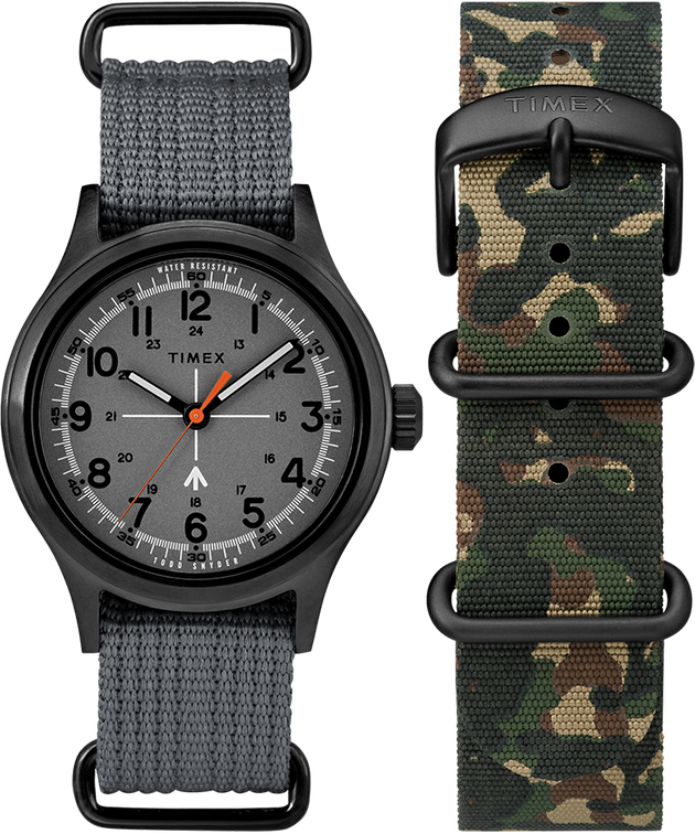 Timex x Todd Snyder Military Inspired 40mm Watch with Extra Strap - Black/Grey