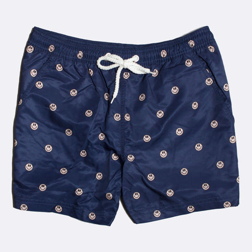 Acid Smiles Print Swim Shorts - Mona Blue
