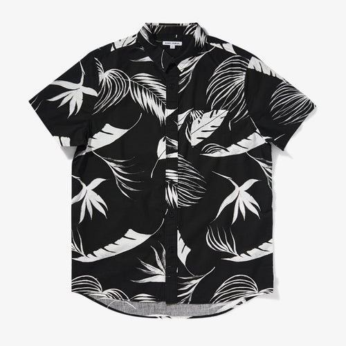 Produce Short Sleeve Leaf Print Shirt - Dirty Black