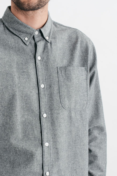 Sutton Long Sleeve Button Up - Slate Slub