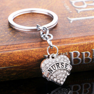 Crystal Heart Nurse Keychain Women