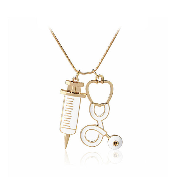 Stethoscope Syringe Nurse Necklace