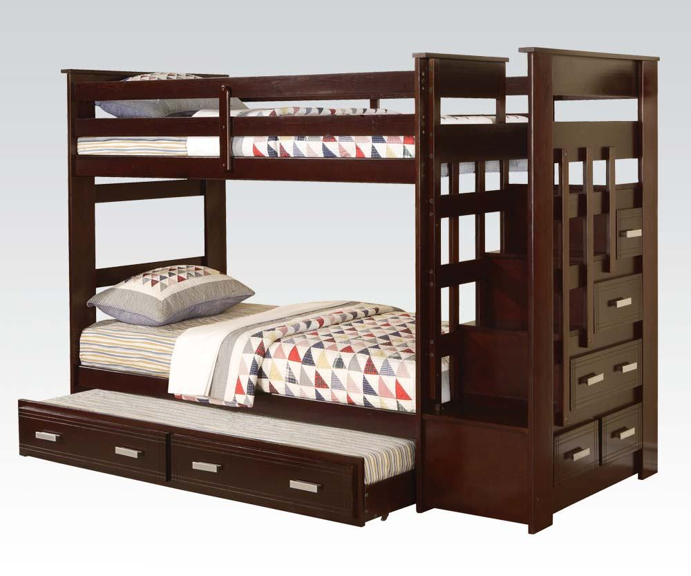 Acme Allentown Twin/Twin Bunk Bed with Trundle & Storage Drawers in Espresso 10170A