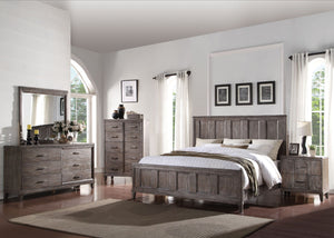 Bayonnee 4Pcs Cherry Oak Panel Bedroom Set /Includes 1 Bed, 1 Nightstand ,1 Dresser and 1 Mirror/23887