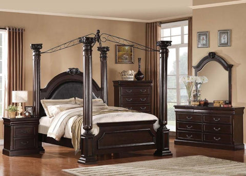 4pc Roman Empire II traditional canopy  bedroom Set / BED,DRESSER, MIRROR , 1 NIGHTSTAND