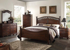 4PC /MANFRED  BEDROOM SET . BED,DRESSER, MIRROR , 1 NIGHTSTAND